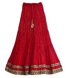 Buy Red Cotton Long Skirt