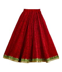 Red Brasso Long Skirt with Zari Border