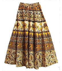 Brown, Black and Yellow Long Skirt with Printed Elephants and Camels