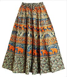 Saffron, Blue and Off-White Sanganeri Print Long Skirt with Elephants and Deers