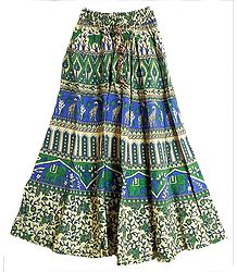 Blue, Green and Off-White Sanganeri Print Long Skirt with Elephants, Giraffes and Deers
