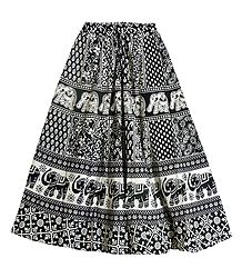 Black and White Sangeneri Print Cotton Skirt