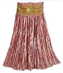 Copper Red Satin Silk Crushed Gypsy Long Skirt With Sequined Waist Band