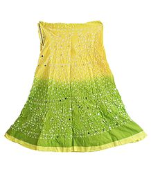 Light Yellow with Light Green Tie and Dye Knee Length Skirt with Sequins