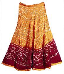 Dark Saffron with Dark Red Tie and Dye Skirt with Sequins