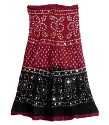 Dark Red with Black Tie and Dye Skirt with Sequins