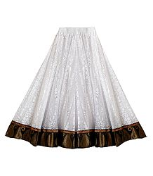 White Brasso Long Skirt with Zari Border with Adjustable Elastic Waist