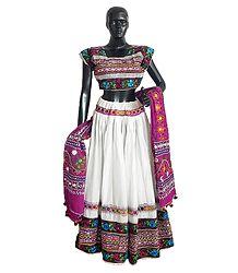 Embroidery on White Cotton Lehenga Choli