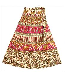 Red, Brown and Off-White Sanganeri Print Wrap Around Skirt with Elephants, Giraffes and Deers