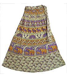 Mauve, Brown and Off-White Wrap Around Skirt with Printed Elephants, Horses and Deers