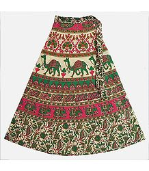 Green, Red and Off-White Wrap Around Skirt with Elephants and Camels