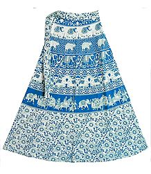 Blue and White Sanganeri Print Wrap Around Long Skirt with Royal Procession