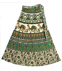 Green,brown,Black and Off-White Wrap Around Skirt with Printed Elephants and Camels