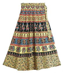 Elephants, Peacocks and Flower Print on Light Yellow Wrap Around Cotton Skirt