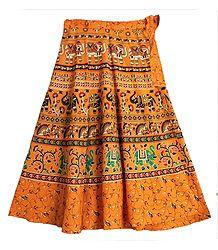 Printed Elephants and Flowers on Dark Yellow Wrap Around Cotton Skirt