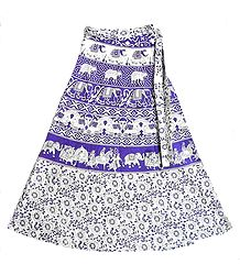 Mauve and Off-White Wrap Around Skirt with Printed Procession and Elephants