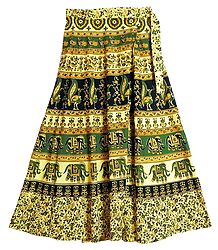 Elephant & Flower Print Wrap Around Skirt
