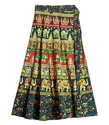 Sanganeri Print on Wrap Around Skirt