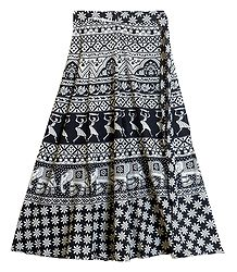 Black and White Print on Wrap Around Skirt