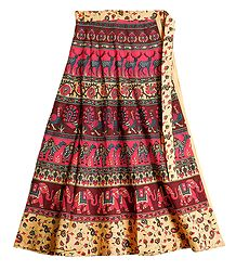 Shop Online Sanganeri Print on Wrap Around Skirt