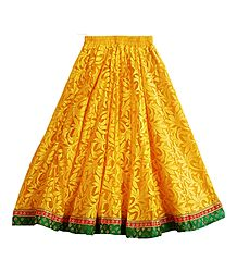 Yellow Brasso Long Skirt with Zari Border