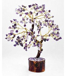 160 Amethyst Stone Chips Wire Tree