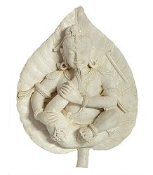 Bal Gopal on Leaf with Sticker - Stone Dust
