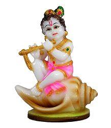 Krishna Sitting on Conch