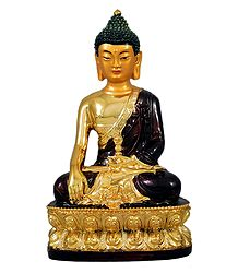 Golden Buddha with Brown Robe - Marble Dust Statue