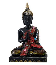 Buddha in Prayer Mudra - Stone Dust Statue