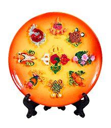 8 Buddhist Symbol on Plate - Stone Sculpture