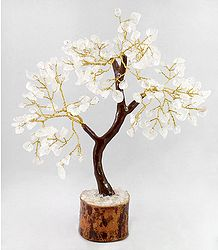 160 Crystal Quartz Stone Chips Wire Tree on Wood Base