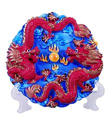 Dragons on Plate with Stand - Stone Dust Showpiece