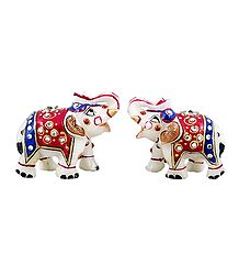 Set of 2 Marble Elephant