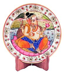 Ganesha Painting on Marble Plate