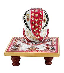 Ganesha Sitting on Chowki - Marble Statue