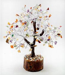 300 Mixed Gemstone Chips Wire Tree