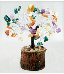 60 Mixed Gemstone Chips Wire Tree on Wood Base