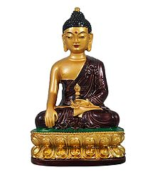 Golden Buddha with Brown Robe - Stone Dust Statue