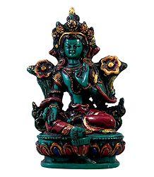 Green Tara - Turquoise Stone Dust Statue