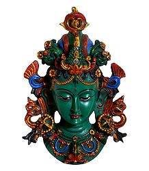 Turquoise Stone Dust Green Tara Face - Wall Hanging