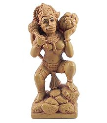 Hanuman Carrying Gandhamadan Parvat - Stone Dust Statue