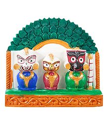 Jagannath, Balaram, Subhadra with Green Chali