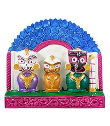 Jagannath, Balaram, Subhadra  with Blue Chali