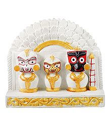 Jagannath, Balaram, Subhadra  with White Chali