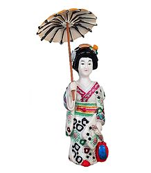Japanese Lady with Umbrella - Stone Sculpture