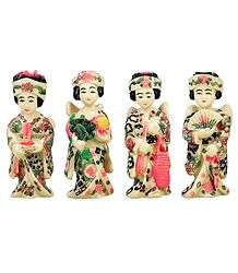 Set of 4 Japanese Lady - Stone Sculpture