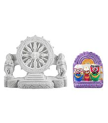 Jagannath, Balaram, Subhadra with Chariot Wheel of Konark Temple