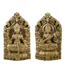 Lakshmi and Saraswati - Stone Dust Statue