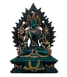 Amitayush Buddha in Antiqueted Style - Stone Statue